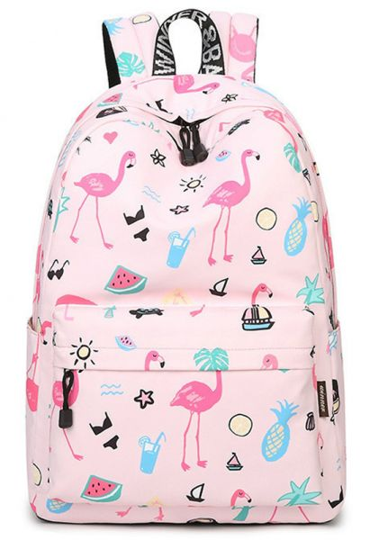 Flamingo Backpack Women Printed School Bags For Teenage Girls Shoulder  Drawstring Bags Travel Students Polyester Cute Women Girl School Shoulder  Bag ... 6bf933ff9da1c