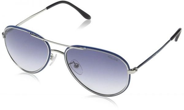 2a61a8fc2f1 Police Aviator Sunglasses for Kids Lens Color Grey and Metal Frame color  Blue Gradient SK502-E70X Size 53x16x130
