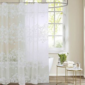 White PEVA Bath Curtains Flower Eco Friendly Waterproof Mildewproof Shower Curtain Bathroom Product 59 X 72 Inches