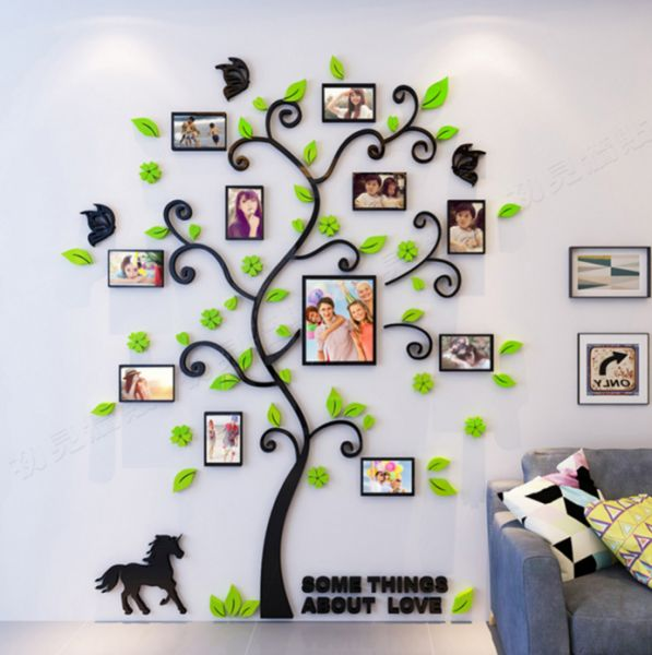 Creative 3d Arcylic Diy Family Photo Frame Tree Wall Sticker Home