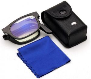 Folding Reading Glasses PC Progressive Multifocus Compact Readers With Leather Case