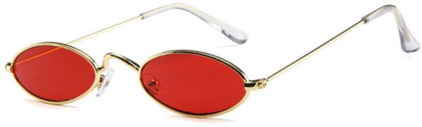 844f6c56e7 Vintage Slender Oval Sunglasses Small Metal Frame Steampunk Goth Glasses  Red Lens. by Other