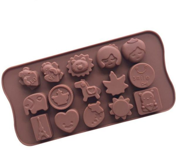 15 Cavity Animal Prince Princess Shape Chocolate Molds For Kids Silicone Ice Cube Mold Biscuits Candy Cake Dessert Decorating Tool