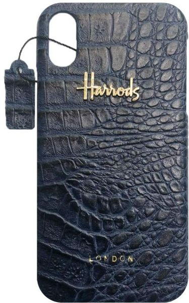 Harrods iPhone X Leather Back Case,Blue