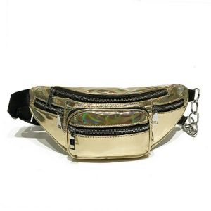 4890a22ed1d Fashion Waist Bag Women Fanny Pack Bags Luxury Brand Clear Transparent  Hologram Belt Bag Portable Chest Bags Black Gold