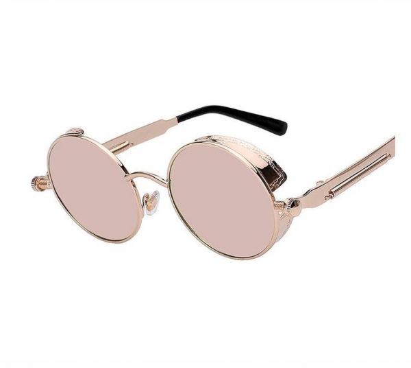 fcbbca873f Round Metal Sunglasses Steampunk Fashion Glasses Brand Retro Vintage Eyewear  UV400 (Mirror Pink)