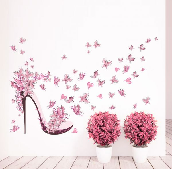 3D wallpaper pink butterfly high heeled shoes Girl princess room wall stickers bedroom living room decorative murals-xsq | Souq - UAE