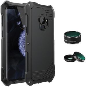 For Samsung Galaxy S9 Plus With Camera Lens 3 in 1 (198 Degree Fisheye Lens 15X Macro Lens Wide Angle Lens) Water Dirt Shock-Proof Aluminum Case Protection ...