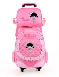 de76ac02cf39 Y D Kids s back to school Trolly Bag Multifunctional Detachable Cartoon Pattern  Waterproof Two Wheels School Backpack baby Pink Color