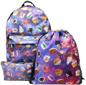 ae5db2676976 3PCS  Set Food Pattern Girls Funny Schoolbags Design Printed Cactus Backpack  Travel Students Printing Backpack Fresh Rucksack Back Pack School Bags  Outdoor ...
