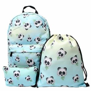 6e1b078fa6 3PCS  Set Panda Bamboo Girls Funny Schoolbags Design Printed Cactus  Backpack Travel Students Printing Backpack Fresh Rucksack Back Pack School  Bags Outdoor ...