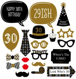 94dedaa2042 20PCS Happy 30th birthday party photo props for men paper mask party  supplies