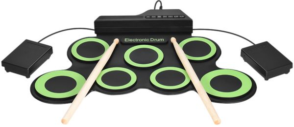 Compact Size Portable Digital Electronic Roll Up Drum Kit 7 Silicon Drum  Pads USB Powered with Drumsticks Foot Pedals 3 5mm Audio Cable