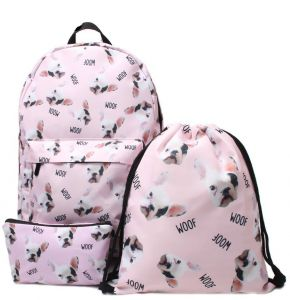 a69632828669 3 Pcs set 3D Printed Backpack Cute Pug Girls Multifunction Gift School Bag  School Bags For Teenage Girls Shoulder Drawstring Bags Travel Students Cute  ...