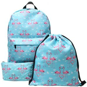 da79e0cac7b6 Backpack Set 3 Pieces Flamingo Drawstring Daypack Waterproof Double Shoulder  Backpack Canvas Youth Backpack Casual Travel School Bag for Girls Teenage  ...