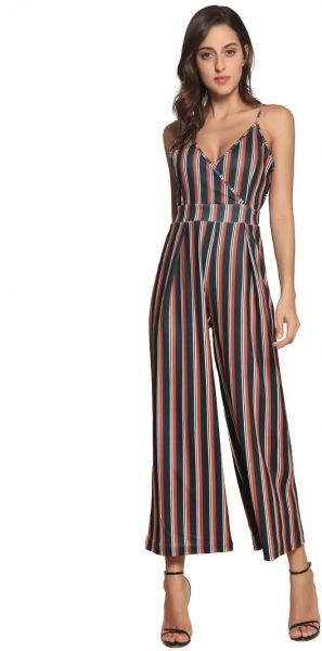 e81a3e680bf5 Women s stripe printing High Waist Wide Leg Long Pants Palazzo Jumpsuit  Rompers Ladies Outfits. by Other