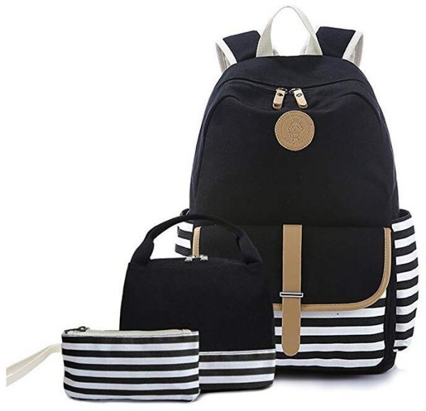 4291e74f538 Teen Girl School Backpack with Lunch Box Pencil Case 3 in 1 Canvas Set  Women Travel Backpack for Elementary