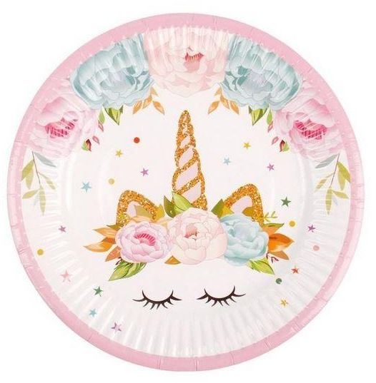 6 Pcs Party Paper Plate Unicorn