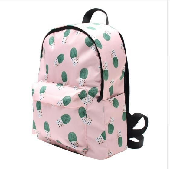 Fashion Women Girl Cute Cactus Backpack Polyester School Bags Backapck  Laptop Baos Travel Rucksack Daypack Shoulder Bags  e890c4583e77c