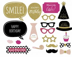 20pcs Birthday Photo Booth Props Happy Party Decoration Beard Hat Mask Supplies Decorations