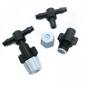 20pc Gray Garden Fog Nozzle Pressure Sprayer Drip Irrigation With 4 / 7mm Tees Connector Watering Sprinklers