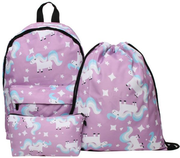 a199a6f7a441 3PCS  set Colorful Women Printed Unicorn Backpack School Bags For Teenage  Girls Shoulder Drawstring Bags Travel Students Polyester Cute Women Girl  Shoulder ...