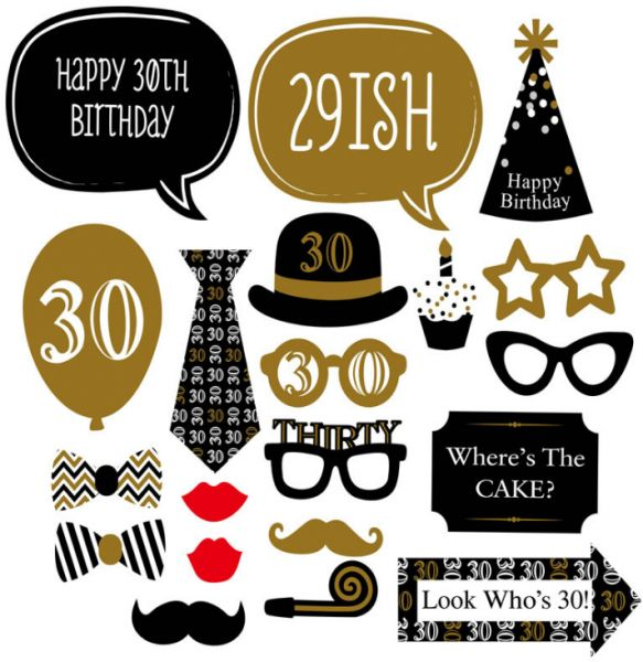 20PCS Happy 30th Birthday Party Photo Props Mask Supplies