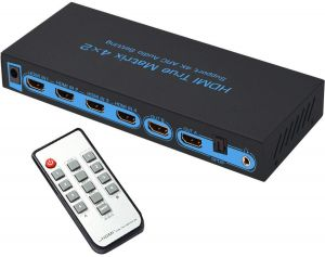 4x2 HDMI Matrix Switch, FiveHome Ultra HD 4 in 2 Out HDMI True Matrix Switcher/Splitter with Optical & L/R Audio Output- Support ARC,3D 1080p.