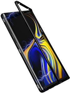 samsung galaxy note 9 Case 360 degree full cover 2 pieces metal frame magnetic tempered glass back case - Black