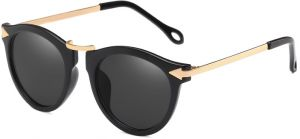 9086d8c70a Unique Gold Pointer Glasses Unisex Retro Round Sunglasses light black Frame  Sunglasses