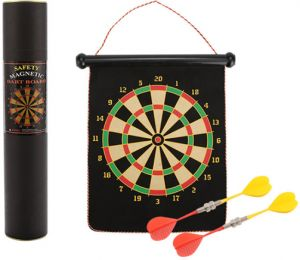 JOEREX 2 in 1 17 Inch Dart Board Family Game Double-Sided Flocking Dart Board Se