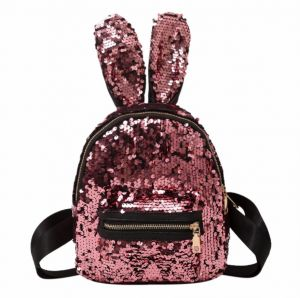 e60579b73f Mini Sequins personality sequins rabbit ears backpack bag Bling Shiny  colorful wild travel backpack For Women Girls