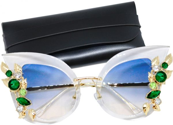 a0cdc6fa34 G SOUL Sunglasses Women Oversized Rhinestone Studded Elegant with Leather  Case Blue Lens