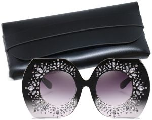 095466706e6 G SOUL Sunglasses Women Oversized Rhinestone Studded Elegant Sunglasses  Round with Leather Case- Gradient Black Frame