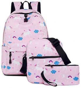 61b35c14fce2 Teen Girls Backpack Unicorn Casual Laptop Daypack School Student Book Bag  School Bags Set Bookbags Shoulder bag Pouch 3 in 1 Pink