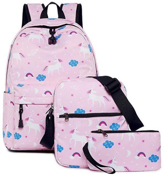 Unicorn School Backpack for Girls Dreampark School Bookbags for Teen Girls  Laptop Bag with Shoulder Bags Pouch 3 in 1 Pink  02f64a60ccb6b