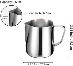 Milk Frothing Pitcher Jug - 12oz/350ML Stainless Steel Coffee Cup - Suitable for Espresso, Latte Art and Frothing Milk