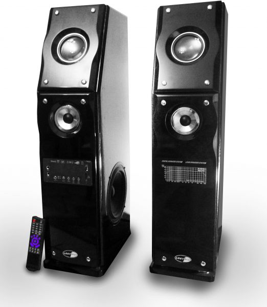 Multi-media speaker system from Logy Star with USB port, Bluetooth, Memory  card, Wooden