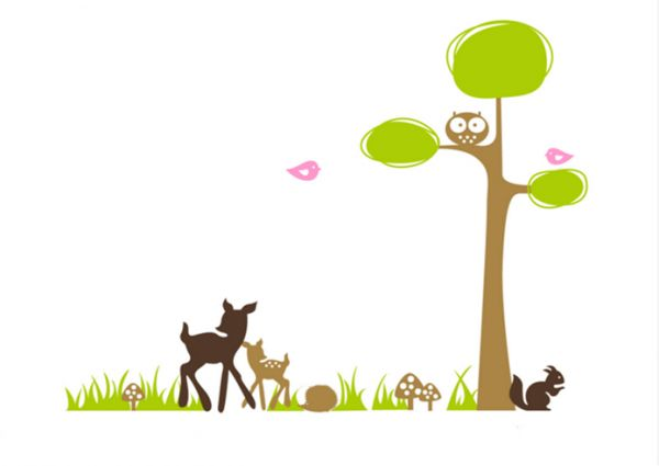 Fine Cute Animals In Forest Wall Art Mural Flowers For Children And Nursery House Removable Wall Stickers Download Free Architecture Designs Rallybritishbridgeorg