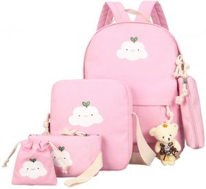 9c5eee1273290 Backpack Set 4 Pieces Patterned Laptop Canvas Casual Travel School Bag for  Teens Boys Girls