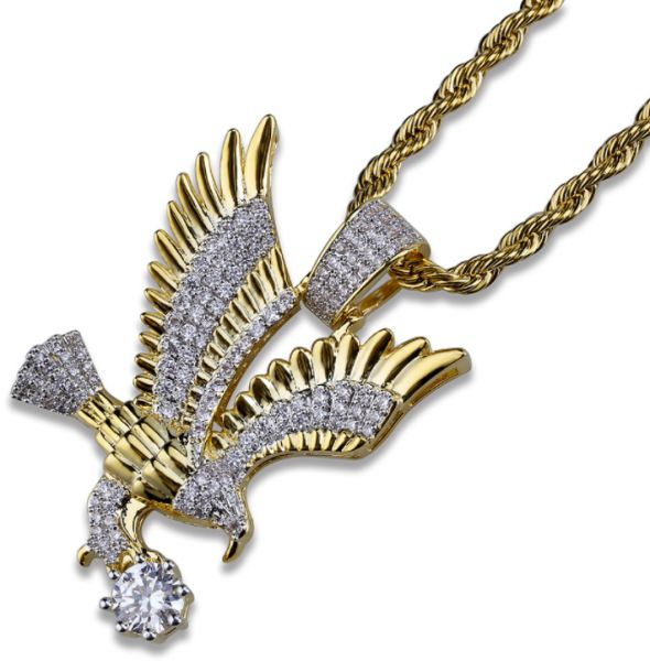 4305a708943 Fashion personality eagle hip hop men s necklace gold plated micro inlaid  zircon pendant necklace men jewelry