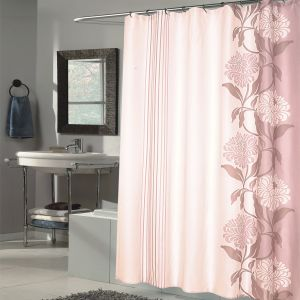 Sweet Home Collection Extra Long 84 X 70 Shower Curtain Durable Water Repellent Resistant Fabric Beautiful Flower Stripe Motif Pattern 96