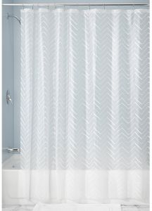 InterDesign Chevron Sketched Decorative PEVA 3G Shower Curtain Liner