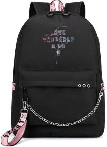 1f3b698dace9 Korea BTS LOVE YOURSELF series backpack school student children canvas  bookbag casual shopping shoulder bag travel rucksack with USB Charging  Port