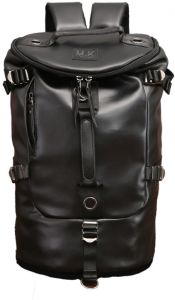 Men women Fashion Big Cylindrical backpack leather Leisure Travel Bag  computer bag School 334bac371e