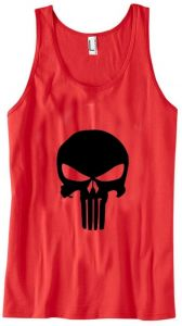 5b1833425f6f6c The Punisher Skull muscle sleeveless gym fitness shirt vest in Red with  regular back- Size XXL