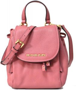 18ec164e88cc19 Michael Kors Riley Small Drawstring Crossbody Pebbled Leather Bag Rose