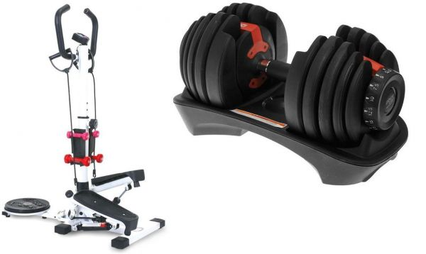Stepper 4 in 1, white, QN-B307-1 , With Adjustable Dumbbells 52.5 Lb
