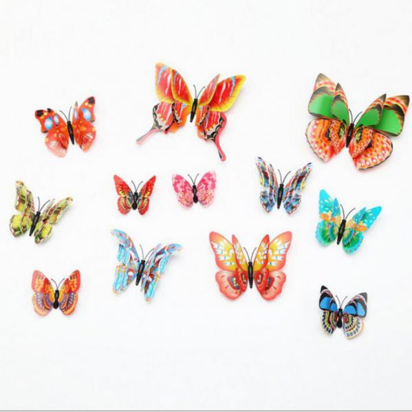 12 Pcs 3d Butterfly Wall Stickers Decor Art Decorations Butterfly