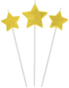 Unique Gold Birthday Star Cake Candles